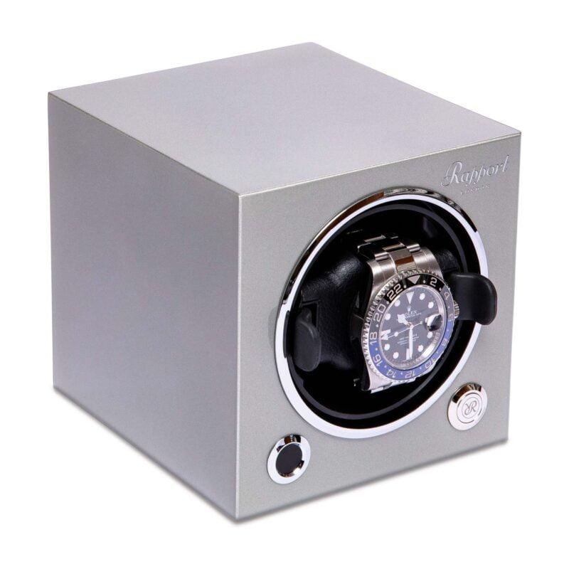 Rapport EVO45 Evolution Cube Watch Winder Platinum Silver